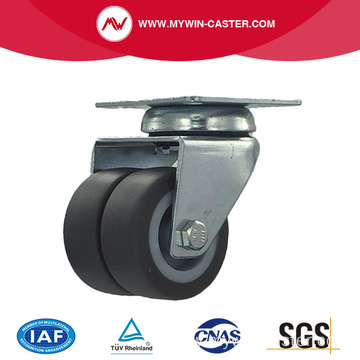 3 Inch Plate Swivel TPR Material small twin Caster
